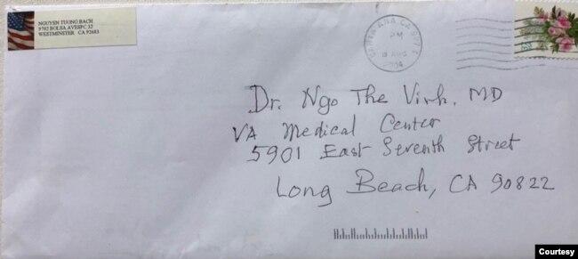 Lá thư tay BS Nguyễn Tường Bách gửi Ngô Thế Vinh ngày 18 tháng 8 năm 2004. [tư liệu Ngô Thế Vinh]