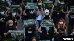 台灣民間團體2020年10月25日在台北市舉行撐港遊行,聲援遭中共扣押的12名港人。