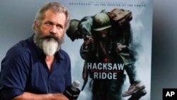 "Mel Gibson discusses the film ""Hacksaw Ridge"" at AOL Studios in New York, Nov. 2, 2016."