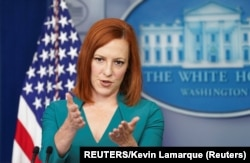 USA, Washington, White House Press Secretary Jen Psaki speaks to reporters at the White House