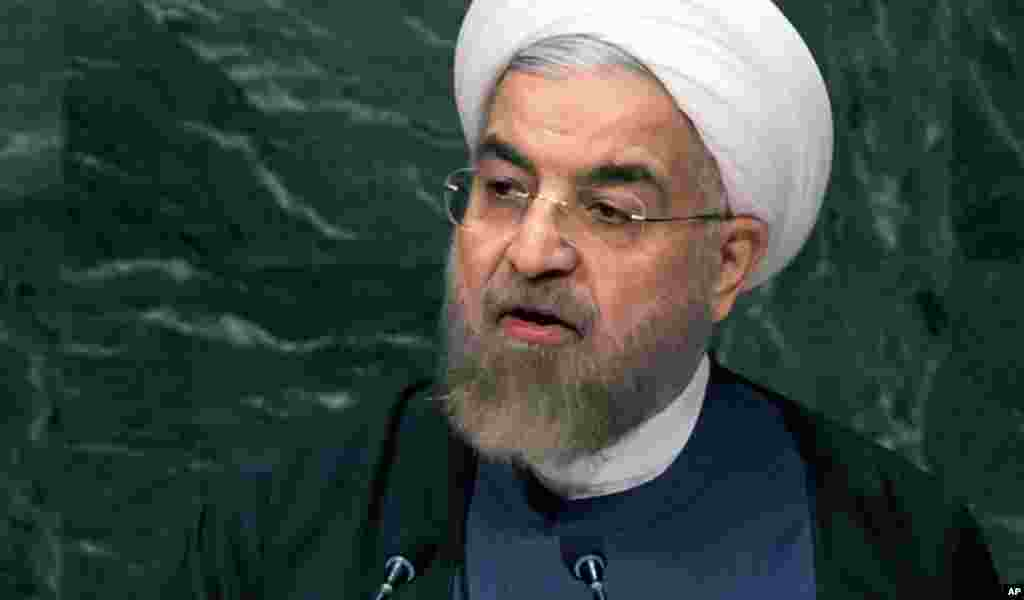Iranian President Hassan Rouhani addresses the 69th session of the United Nations General Assembly, at U.N. headquarters, New York, Sept. 25, 2014.