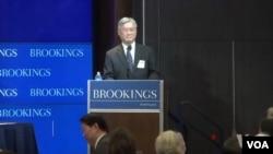 台灣行政院陸委會主委夏立言在華盛頓智庫布魯金斯學會發表演說。(視頻截圖)