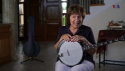 Linda Hansen Enjoys Her Banjo