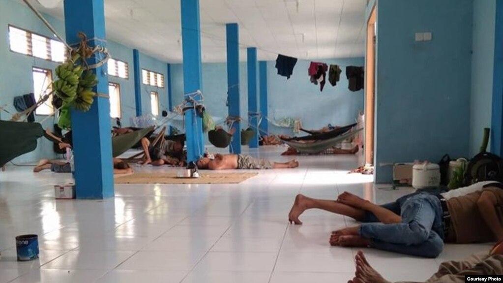 Nơi sinh hoạt của các ngư phủ Việt Nam đang bị giam giữ ở đảo Natuna, Indonesia, ngày 16/4/2018. Ảnh Nguyễn Văn Vĩ.
