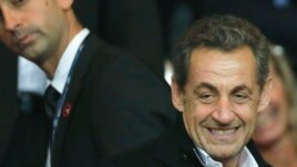 France's former President Nicolas Sarkozy at Parc des Princes stadium, in Paris, France, Sept. 22, 2013.