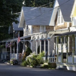 Houses in the Cottage Park neighborhood of Oak Bluffs, on the island of Martha's Vineyard, Massachusetts