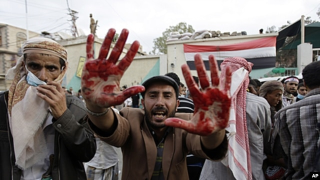 An anti-government protester holds out his blood-stained hands after clashes with security forces, in Sanaa, Yemen, September 18, 2011.