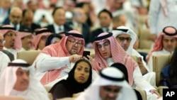 Para peserta menghadiri pembukaan konferensi Inisiatif Investasi Masa Depan, di Riyadh, Arab Saudi, Selasa, 23 Oktober 2018. (AP Photo/Amr Nabil)