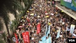 香港几十个政党和团体在十一国庆举行反威权大游行