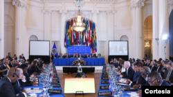 El secretario general de la OEA, Luis Almagro, inauguró el martes 20 de octubre de 2020 la 50 Asamblea General de la OEA, en un contexto marcado por la pandemia del COVID-19.[Tomada de la web de la OEA]