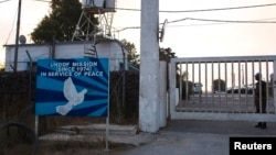 Ulaz u bazu Ujedinjenih nacija blizu granice između Golanske visoravni i Sirije