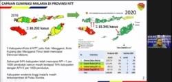 Capaian Eliminasi Malaria di Provinsi Nusa Tenggara Timur pada tahun 2020 disampaikan oleh Kepala Dinas Kesehatan, Kependudukan dan Pencatatan Sipil Provinsi Nusa Tenggara Timur Messerassi B.V Ataupah. Jumat (23/4/2021) dalam tangkapan layar.