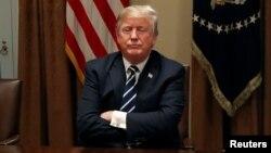 川普總統2018年7月17日在白宮對媒體說明他與普京的會面