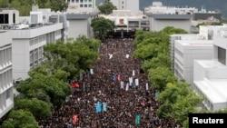 香港學生在香港中文大學舉行反送中罷課行動。(2019年9月2日)