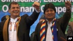Los presidentes Rafael Correa (Ecuador) y Evo Morales (Bolivia), dos fuertes apostadores a la reelección.