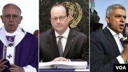 از راست به چپ: صادق خان شاروال لندن، فرانسوا هولاند رئیس جمهور فرانسه و پاپ فرانسس، رهبر کاتولیک های جهان