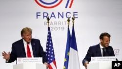 Le président américain Donald Trump et le président français Emmanuel Macron, après leur conférence de presse conjointe au sommet du G7, le lundi 26 août 2019 à Biarritz, dans le sud-ouest de la France.