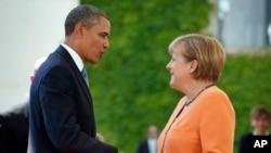 Le président Obama et la chancelière allemande Angela Merkel à Berlin