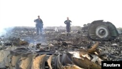 Ukrainian Emergencies Ministry personnel work at the site of the Malaysia Airlines Boeing 777 crash near the village of Grabovo in the Donetsk region, July 17, 2014.