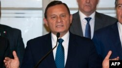 """Peru's Foreign Affairs Minister Nestor Popolizio delivers a speech during the closing of the meeting of the """"Lima Group,"""" which includes Canada and most of Latin America's top powers, to assess the current situation in Venezuela, in Lima on Jan. 4, 2019."""