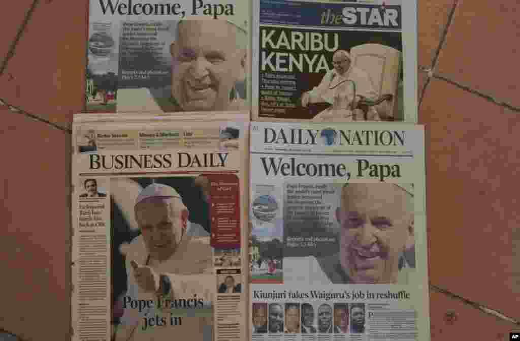 Kenyan daily newspapers' headlines show Pope Francis' visit, Nov. 25, 2015.