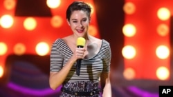 Shailene Woodley accepts the trailblazer award at the MTV Movie Awards at the Nokia Theatre on April 12, 2015, in Los Angeles.