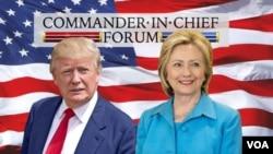 共和黨人唐納德川普(左)與希拉里克林頓(右)。