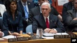 Wakil Presiden AS Mike Pence berbicara mengenai krisis Rohingya di Myanmar, pada pertemuan penjagaan perdamaian PBB di New York, hari Rabu (20/9).