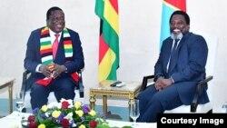 Le président zimbabwéen, Emmerson Mnangagwa, a effectué sa première visite officielle à Kinshasa où il a discuté de la coopération avec son homologue congolais, Joseph Kabila, le 28 février 2018. (Twitter/Présidence RDC)