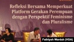 Wakil Ketua Komnas Perempuan Yuni Chuzaifah dalam peluncuran buku tumbuhnya gerakan perempuan Indonesia di Musium Nasional, Senin (1/5).