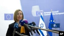 Federica Mogherini, Alta Representante para a União Europeia momentos antes da reunião com Benjamin Netanyahu