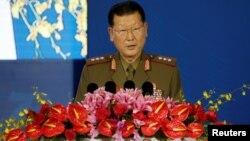 北韓人民武裝力量省副相金亨龍2019年10月21日在北京香山論壇上講話。