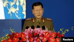 朝鲜人民武装力量省副相金亨龙2019年10月21日在北京香山论坛上讲话。