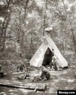"""A tepee, Wyndygoul -- Camp Flying Eagles,"" on the estate Ernest Thompson Seton, ca. 1908."
