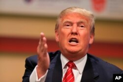 Republican presidential candidate Donald Trump speaks at the Family Leadership Summit in Ames, Iowa, July 18, 2015.