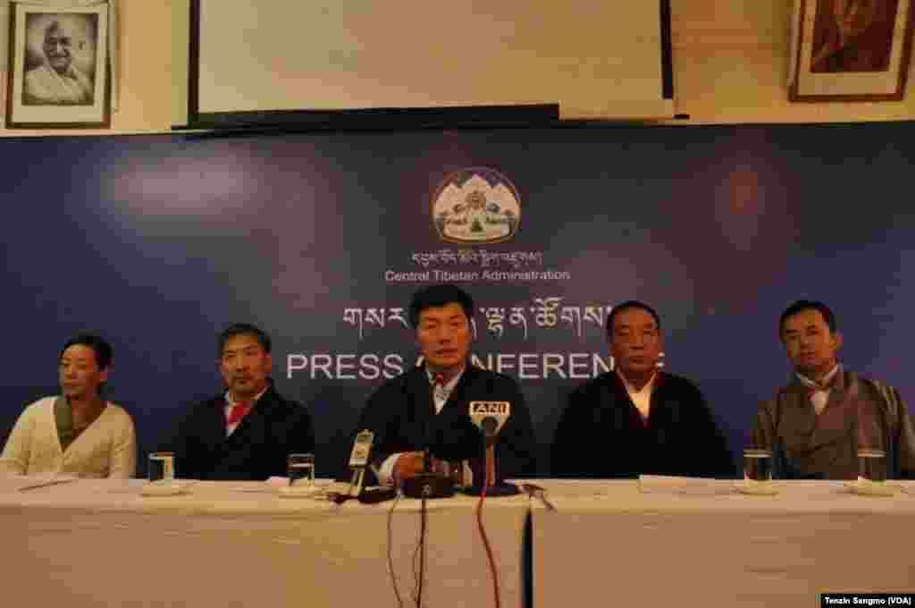 Elected head of Tibetan Administration Lobsang Sangay speaks at a press conference Wednesday (August 8) on completion of his one year in office