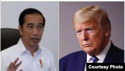 Foto kombinasi, dari kiri: Presiden RI Joko Widodo (Foto courtesy:Setpres RI) dan Presiden Amerika Serikat Donald Trump. (Foto: AP)