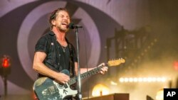 FILE - Eddie Vedder of Pearl Jam performs at Bonnaroo Music and Arts Festival in Manchester, Tennessee, June 11, 2016.