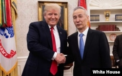 FILE - President Donald Trump meets with Chinese Vice Premier Liu He at the White House, May 17, 2018.