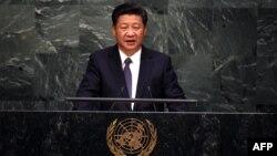 Presiden China, Xi Jinping berbicara pada sidang umum PBB di New York (26/9).