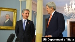 U.S. Secretary of State John Kerry and Moldovan Prime Minister Iurie Leanca address reporters after their bilateral meeting at the U.S. Department of State in Washington, D.C., on March 3, 2014.