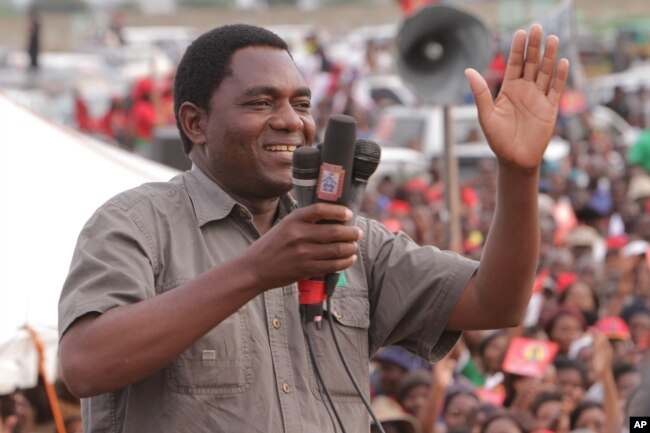 FILE - Hakainde Hichilema of the Zambia opposition United Party for National Development addresses an election rally in Lusaka, Zambia,Jan. 2015.