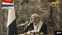 Президент Алі Абдалла Салех виступає з телевізійним звернення до свого нараду зі Саудівської Аравії 16 серпня, 2011 р.