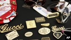 A file photo of counterfeit designer products seized in a raid by federal officials.