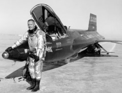 Pilot Neil Armstrong next to an X-15