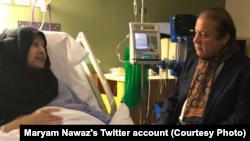 نواز شریف اپنی اہلیہ بیگم کلثوم نواز کی عیادت کر رہے ہیں