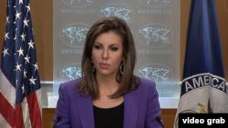 美國國務院發言人奧特加斯在國務院的例行記者會上。