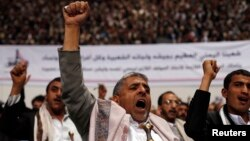 Followers of the Houthi movement shout slogans as they attend a gathering in Sanaa, Yemen, Jan. 30, 2015.