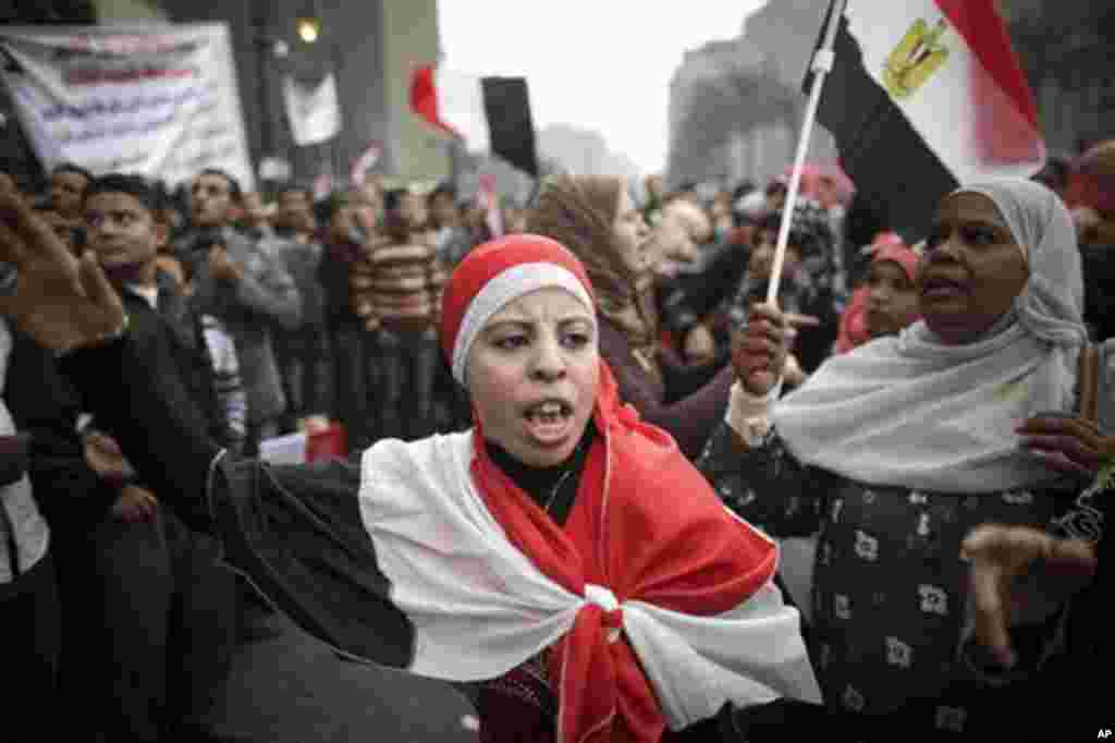 Egyptian women protest in Tahrir Square in Cairo, Egypt, Saturday, Nov. 26, 2011. The election begins Monday Nov. 28, and are staggered over multiple stages that conclude in March. The military said it would extend the voting period to two days for each r