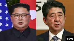 朝鲜领导人金正恩(左)和日本首相安倍晋三(右)